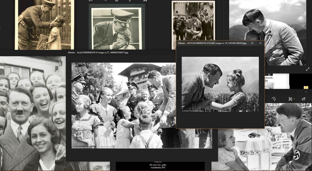 Collage, smilende Hitler med purunge piger